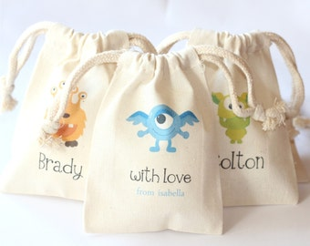 MONSTER FAVOR bags (STYLE 2) - Set of 10 - Choose design -size - text