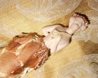 """French Half Doll Clothing Whisk Art Nouveau """"D'Auger"""" Signed Bisque Porcelain Madamoiselle Clothing Brush Antique Vanity Collectible"""