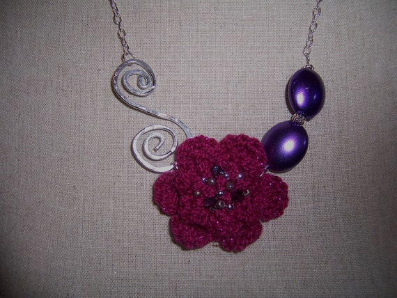 Crocheted Beaded Rose and Bead Necklace.....Hot Pink and Purple