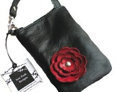 Black Leatther Berry Red Flower Cell Smartphone Phone Iphone Galaxy Sling Crossbody Camera Gadget Case Zipper Pouch Small Purse