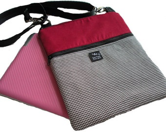 Black White Red Houndstooth Fabric Ipad Kindle Nook Sling Sleeve Pouch Passport Bag Messenger