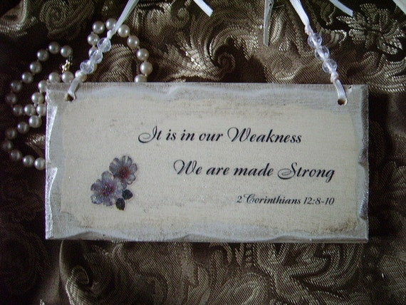 Shabby Cottage petite Sign Scripture quote It is in Our