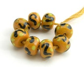 CLOSEOUT SALE - 8 Minis Lampwork Glass Beads - Yellow, Black, Green