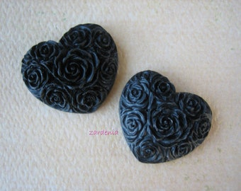 2PCS - Heart Flower Cabochons - Resin - Black - 19x21mm - Cabochons by ZARDENIA