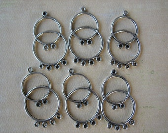 6PCS - Double Circle Earring Charms - Antique Silver - 42x24mm - Findings by ZARDENIA