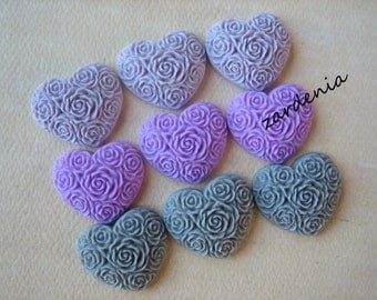 9PCS - Heart Flower Cabochons - Resin - Lilac, Lavender and Gray Mix - 19x21mm - Cabochons by ZARDENIA