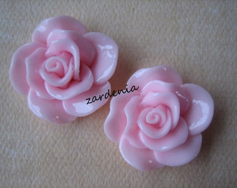 2PCS - Begonia Cabochons - Glossy - 30mm - Pink - Cabochons by ZARDENIA