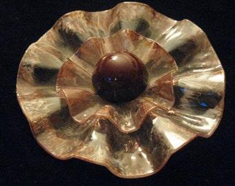 Vintage Old Plastic Beige Brown Flower Pin Brooch 1960s Flower Power