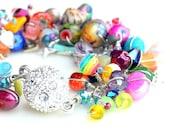 bling bracelet.  multicolored classic uniquenecks wire wrapped beaded bracelet. gemstones. pearls. swarovski. czech glass. sparkle bracelet