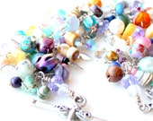 whimsical bracelet. soft colors. handmade beaded wire wrapped gemstone bracelet stacking jewelry