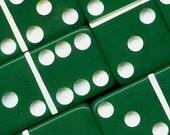 5 Emerald GREEN Vintage Bakelite DOMINOES - 1950s Marblelike dense and brilliant green - GDOG5