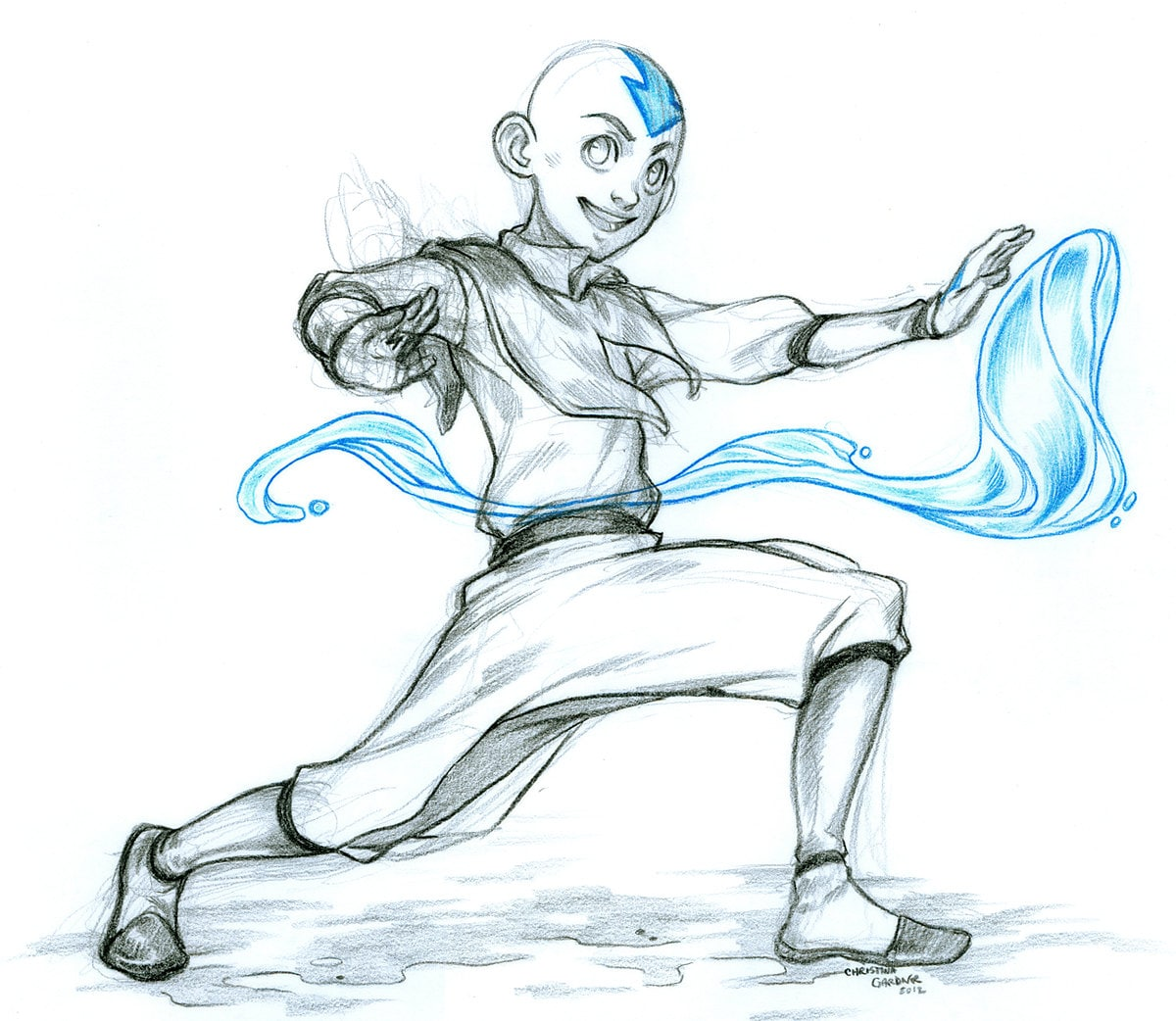 Avatar Aang Drawings: Avatar The Last Airbender Aang Sketch Fanart By Curry23 On
