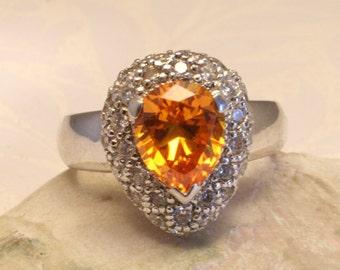 Orange crystal ring. Sterling silver. US size 8 1/2. UK size R
