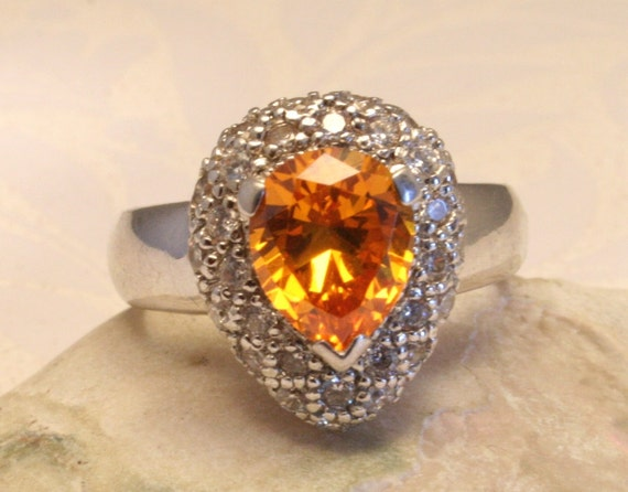 Orange crystal ring. Sterling silver. US size 8 1/2. UK size R