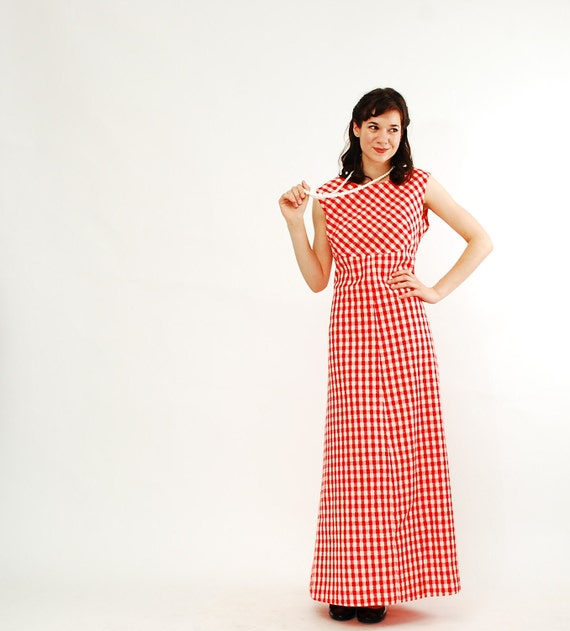 Vintage 1970s Maxi Dress - 70s Summer Dress - Red and White Gingham