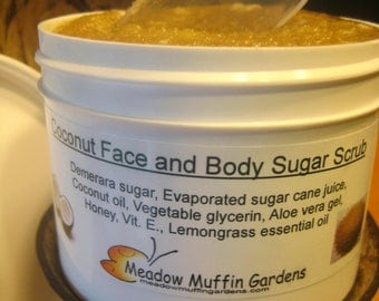 Coconut Face and Body Raw Sugar Scrub, Exfoliation, Lemongrass