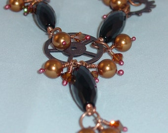 Steampunk Elegance Black Onyx, pearls and Crystals Necklace