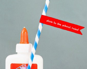 Printable stick to the school rules pencil flags