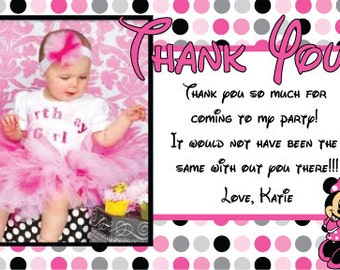 DIY minnie mouse thank you card