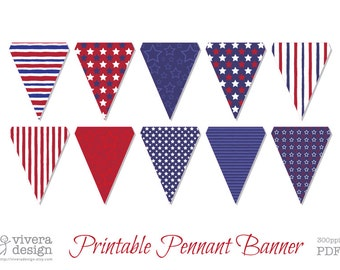 Star Spangled Banner Printable Pennant Banners - PDF - Letter or A4 pages