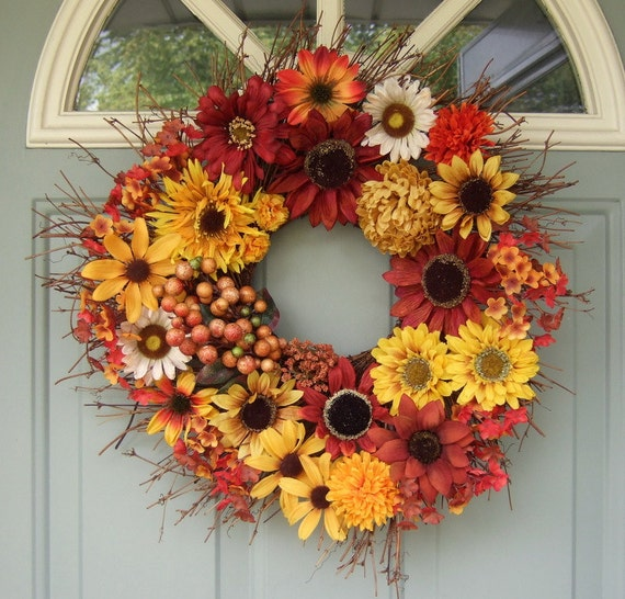 Fall Wreath - Wreath for Fall - Fall Door Decor - Seasonal Fall Wreath