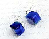 Sterling Silver Cobalt Blue Lampwork Glass Cube Earrings. Modern Minimalist Earrings. Medium Dangle. Only one last pair. TAGT TEAM