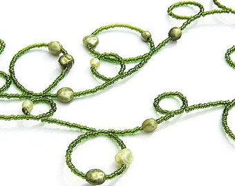 Handmade Bubble Necklace. Olive Green Seed Bead Necklace. Pearl necklace. Long Necklace or 4 Wrap Bracelet