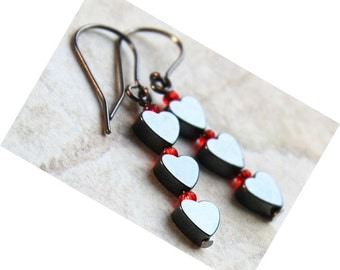 4th July Tiny Hematite Heart Earrings Black Gunmetal Stacked Earrings Black and Red Gothic Earrings Metallic Gray Minimalist Modern