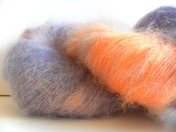 Handpainted SuperFluff Brushed Mohair Yarn - over 400 yards