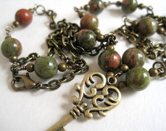 Brass Key Necklace / Unakite Necklace / Rosary Style Stone & Chain / Natural Stone / Antique Brass Chain / Layering Necklace