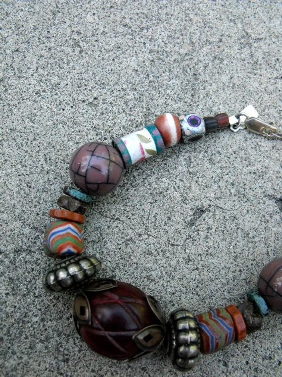 beaded BRACELET, chunky , tribal ,hand painted and mixed media beads, glass, metal and ceramic, by ZASRA