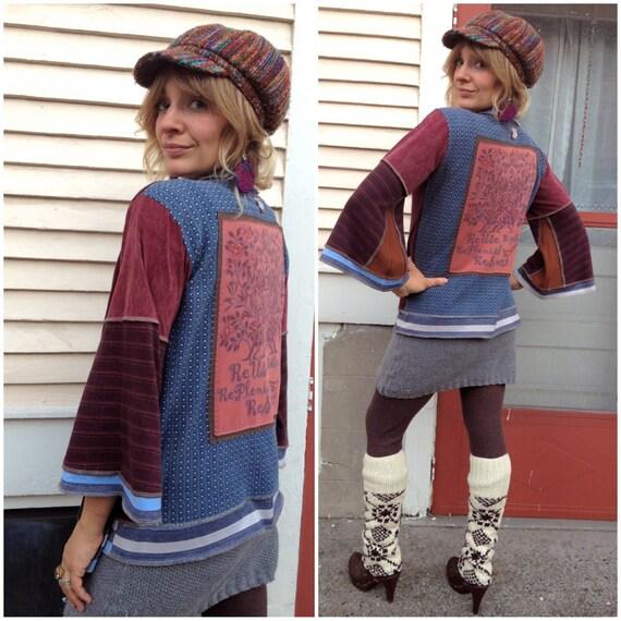 Eco Wrap Jacket, patchwork clothing, upcycled,recycled, boho, festival, asymmetrical, tree applique  size O/S , by Zasra