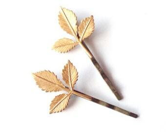 Gold Leaf Bobby Pins Bridal Hair Clip Bride Bridesmaid Botanical Rustic Woodland Wedding Grecian Accessories Women Gift For Her Autumn Fall