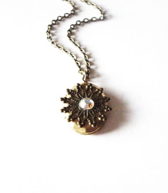 Snowflake Locket Necklace - Aurora Borealis Swarovski Crystal - Cute - Adorable - Elegant - Romantic - Whimsical - Dreamy