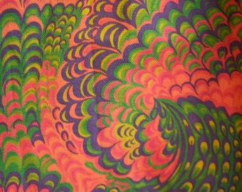TWO PSYCHEDELIC Vintage 1960s Bark Cloth Curtain Panels