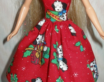 Handmade Barbie clothes -  red holiday print dress