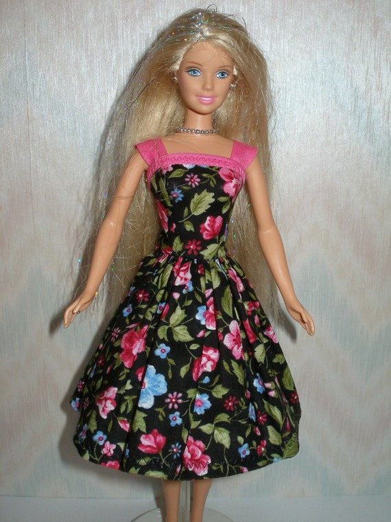Handmade Barbie clothes - Black, blue and pink floral dress