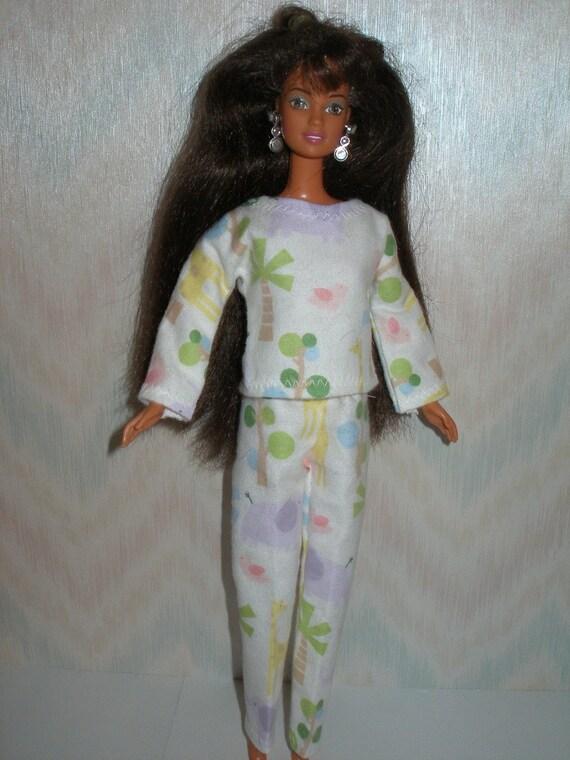 Handmade Barbie doll clothes - flannel pajamas