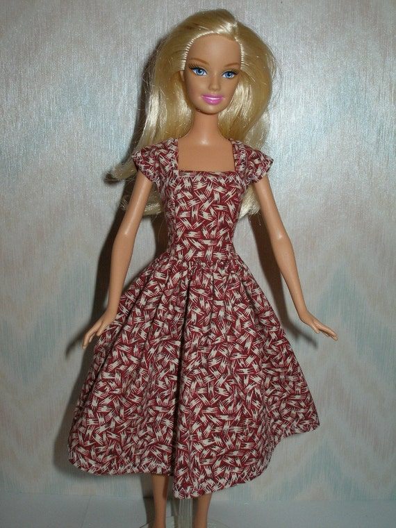 Handmade barbie doll clothes - Beige and maroon cotton print dress