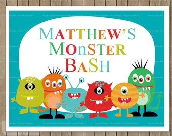 Custom Monster Party Printable Party Sign. Monster Party Decor 1131