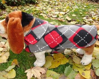 Dog Jacket -  Black Grey and Red Argyle Fleece Dog Coat- Size Medium- 16 to 18  Inch Back Length - Or Custom Size
