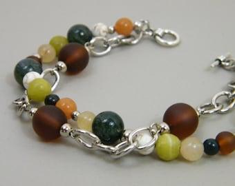 Earth Tones Bracelet - Natural Stone Jade Magnesite Sea Glass Beaded Bracelet Brown Olive Forest Green Cream Silver Bracelet