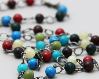 Moody - Colorful Natural Stone Beaded Long Layering Necklace  Blue Teal Olive Green Red Burgundy Wine Pale Yellow Gunmetal