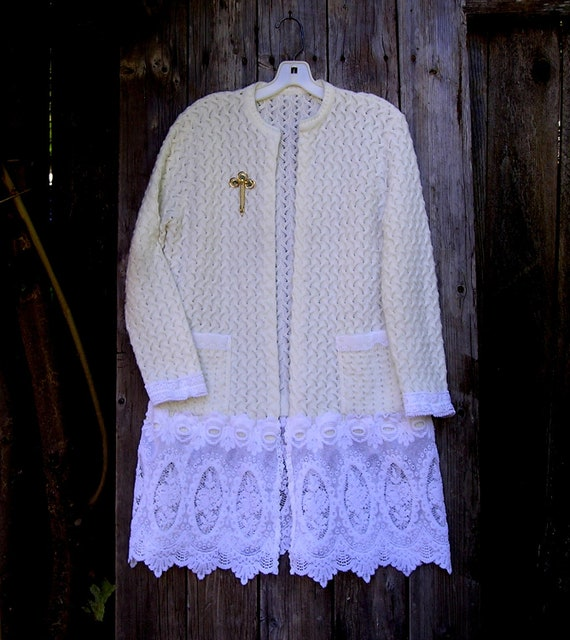 Reserved, Sale! Recycled Romantic Sweater Coat, Shabby Chic, Victorian shabby, Wedding, Lace skirt, Altered Sweater