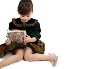 Alfred Sung / Designer Dress / Childrens Dress / Girls Dress / Christmas Dress / Forest Green Dress / Copper Dress / Babydoll / Dress /