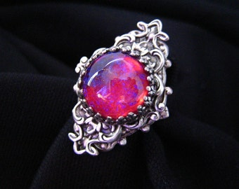 Lycoris No.3-- Dragon's breath large opal glass stone antique silver brass adjustable ring