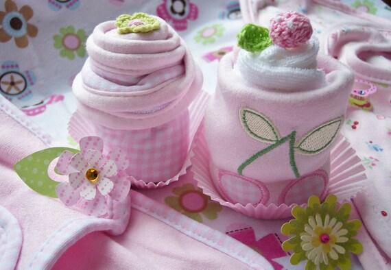 Pretty in Pink...Bib, Burpcloth, Washcloth 2 Cupcake Combo.....Girly Style.....Baby Gift