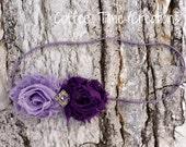 Olivia Headband Purple Mini Chiffon Flower Duo Headband Newborn - Baby - Infant - Toddler - Hair Accessories - Girls