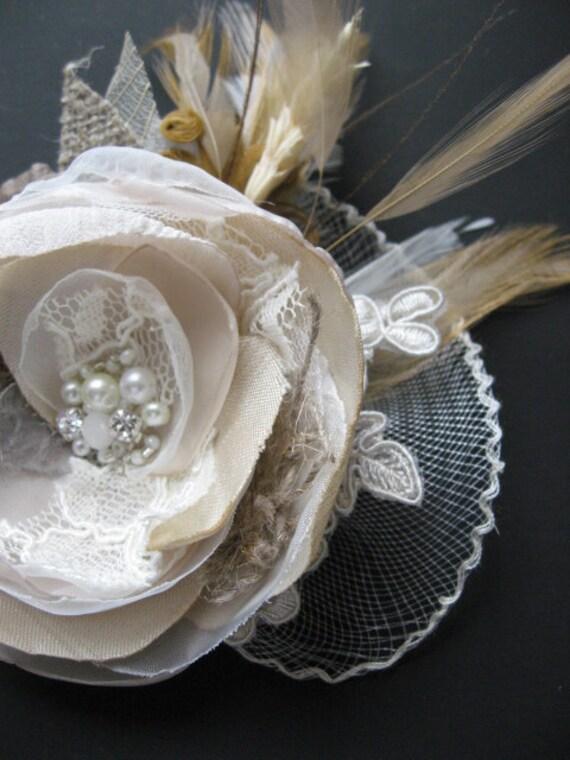 Wedding bridal hair accessory fascinator Hair Clip Beige flower Ivory Sand wheat Brown burlap hairclip vintage inspired lace fascinator