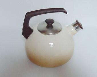 The european Enamel 70s Kettle.Usable.Modern Design.